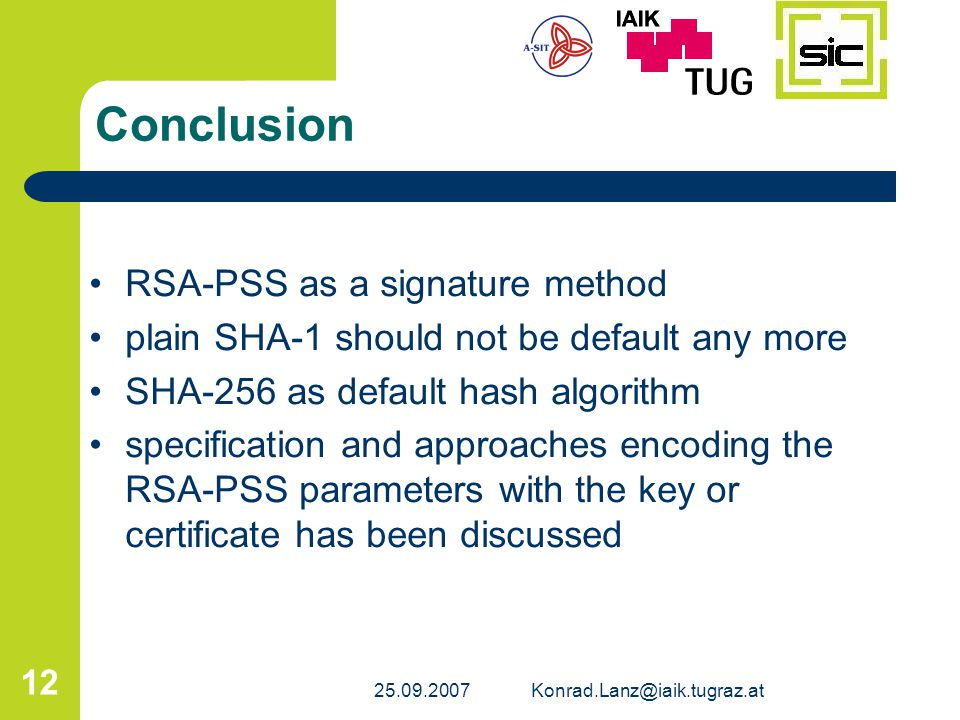 Conclusion RSA-PSS as a signature method