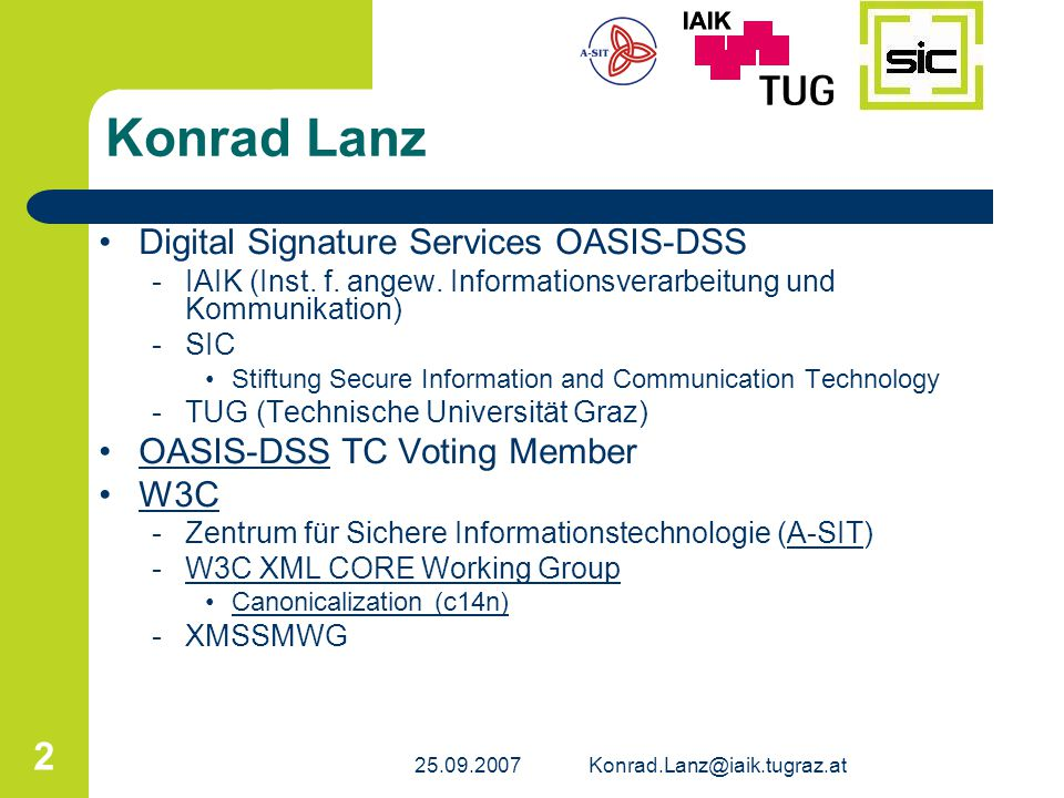 Konrad Lanz Digital Signature Services OASIS-DSS