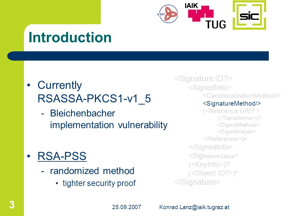 Introduction Currently RSASSA-PKCS1-v1_5 RSA-PSS