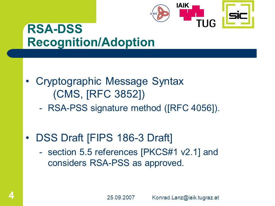 RSA-DSS Recognition/Adoption