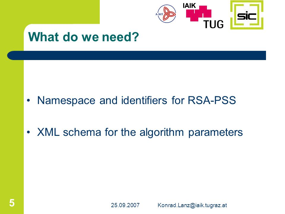 What do we need Namespace and identifiers for RSA-PSS