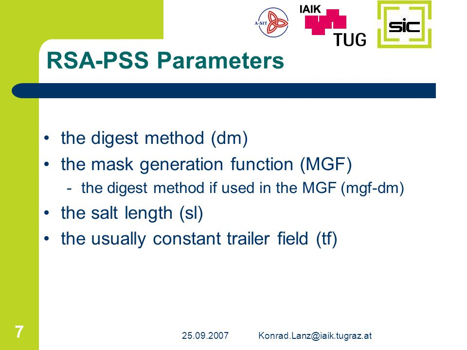 RSA-PSS Parameters the digest method (dm)