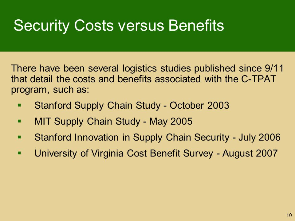 Security Costs versus Benefits