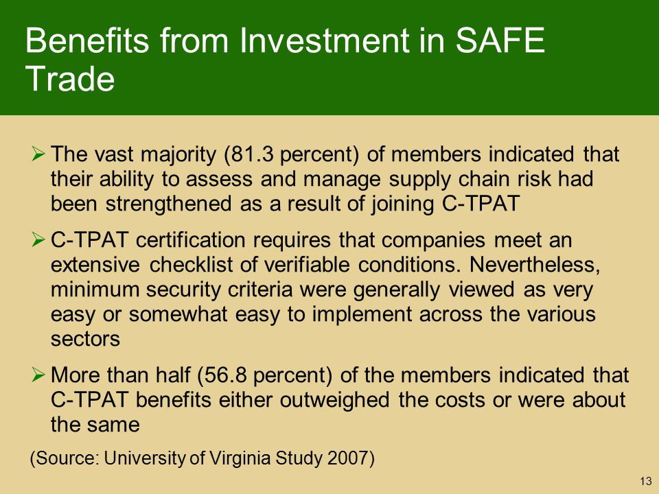 Benefits from Investment in SAFE Trade