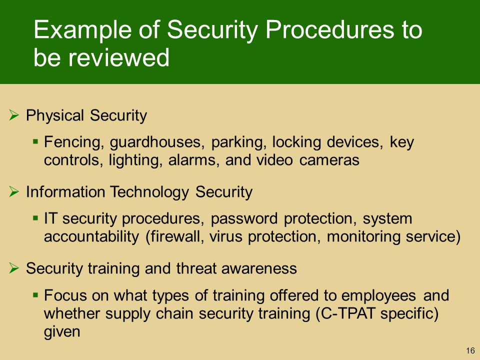 Example of Security Procedures to be reviewed