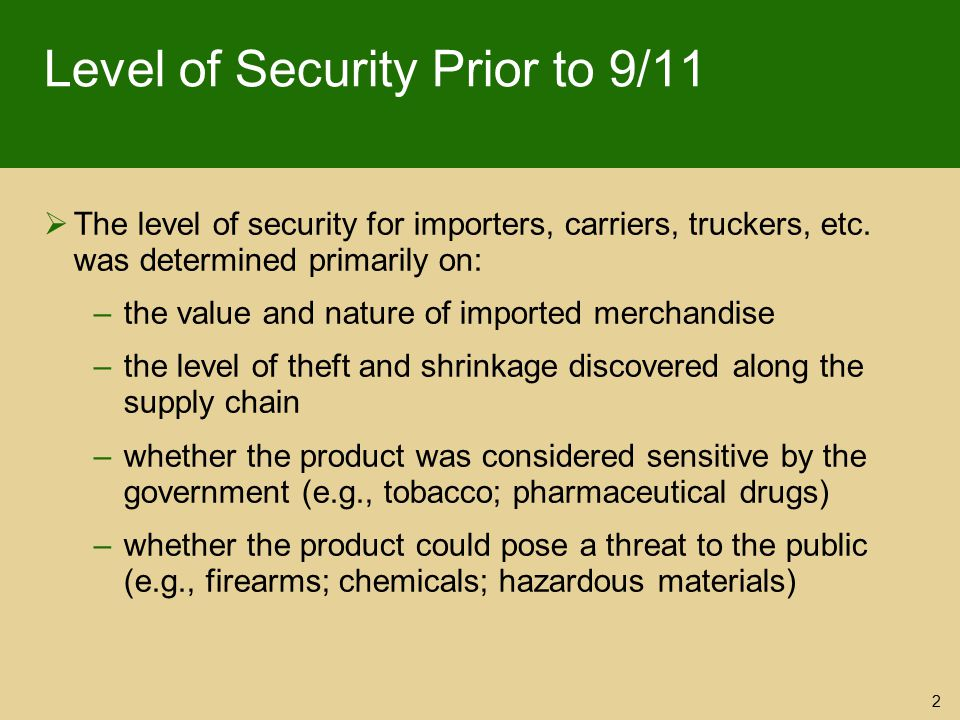 Level of Security Prior to 9/11