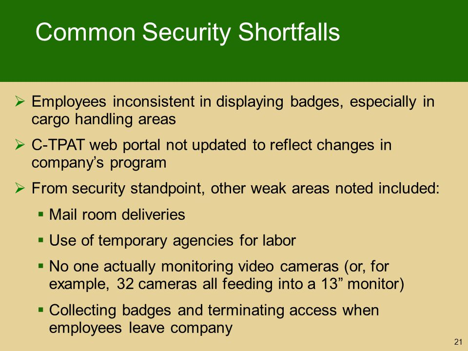 Common Security Shortfalls