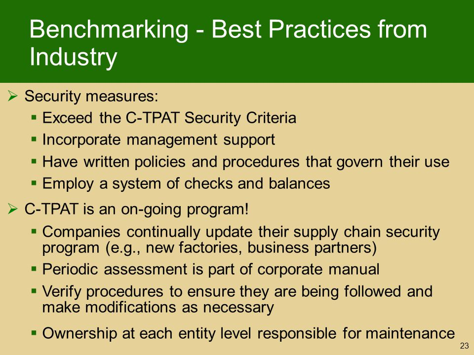 Benchmarking - Best Practices from Industry