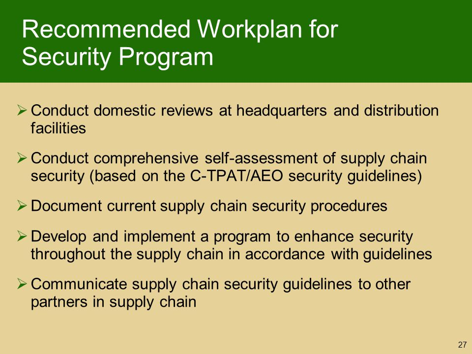 Recommended Workplan for Security Program