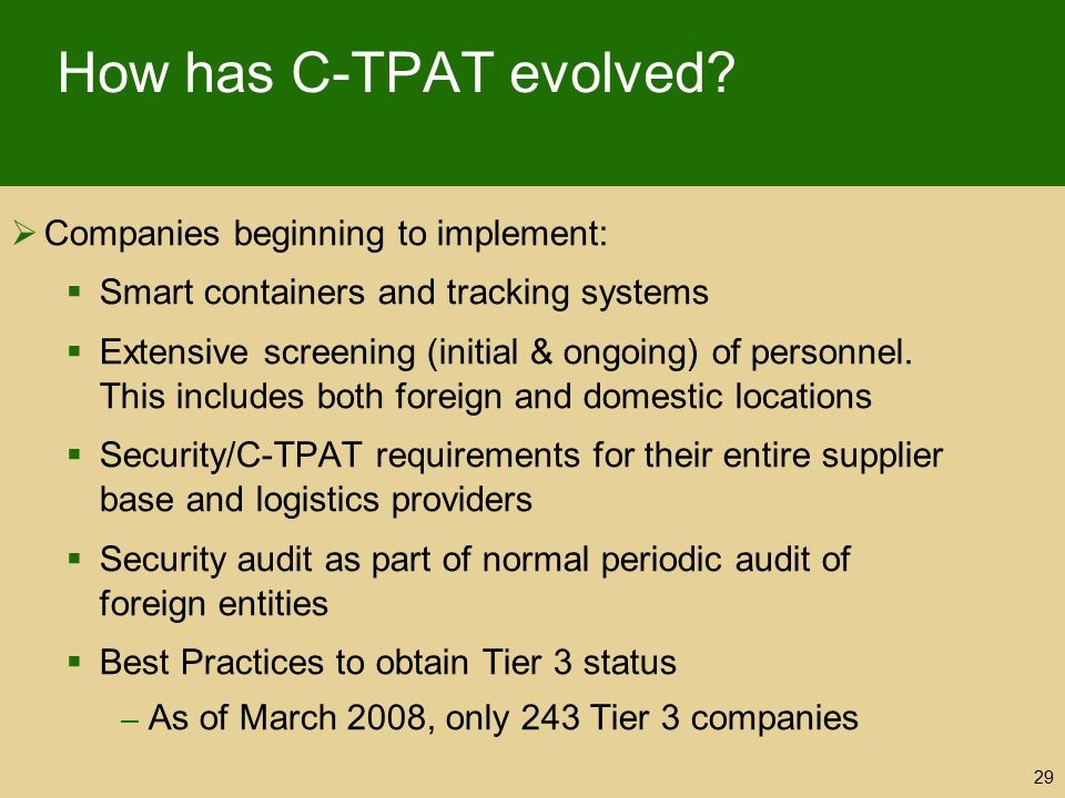 How has C-TPAT evolved Companies beginning to implement:
