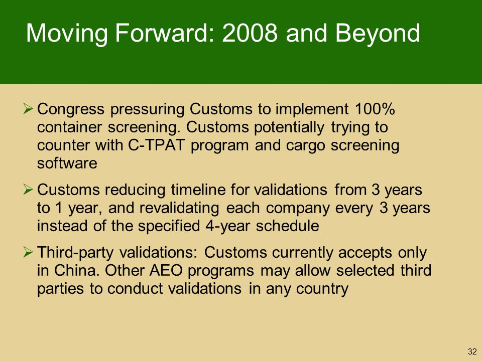 Moving Forward: 2008 and Beyond