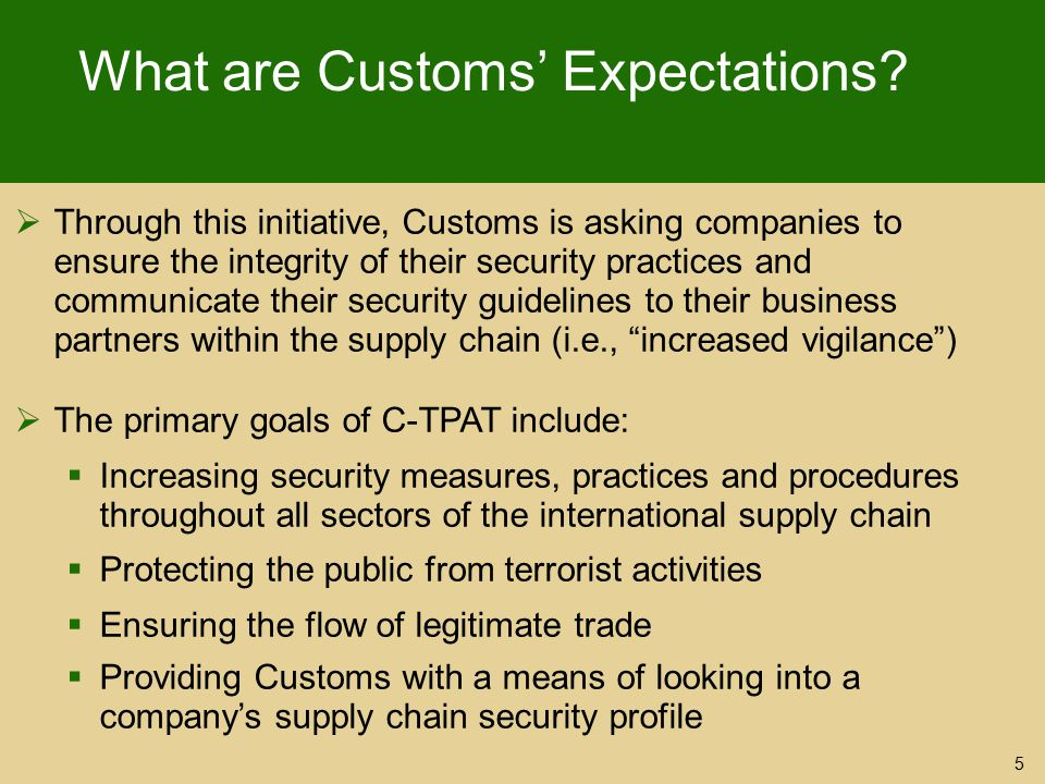 What are Customs' Expectations
