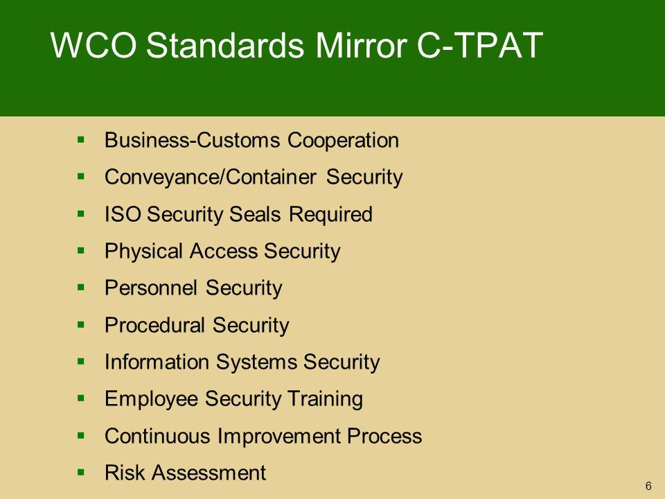 WCO Standards Mirror C-TPAT