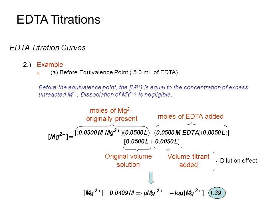 EDTA Titrations EDTA Titration Curves 2.) Example moles of Mg2+