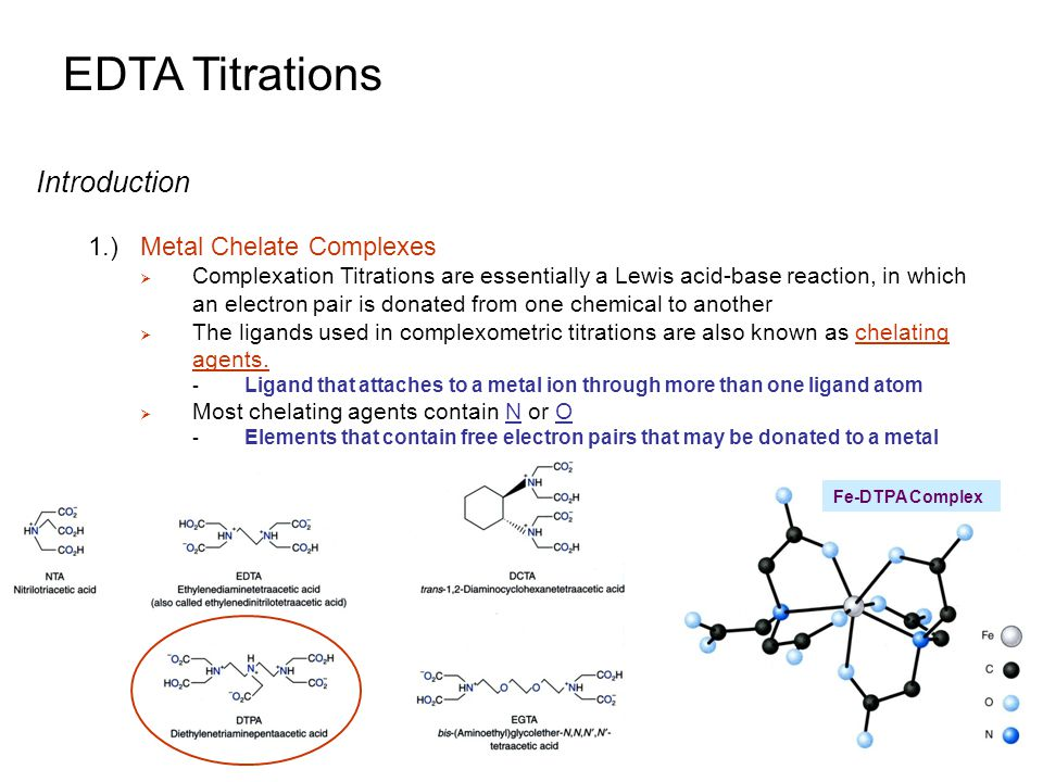 using edta as a titrant which A titration calculation is a simple formula used to work out the concentration (in moles) of one of the reactants in a titration using the concentration of the other reactant.
