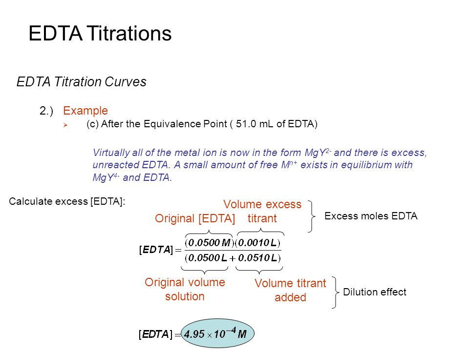 EDTA Titrations EDTA Titration Curves 2.) Example Volume excess