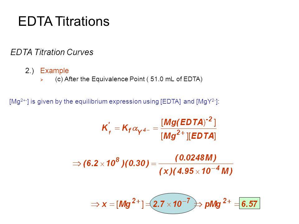 EDTA Titrations EDTA Titration Curves 2.) Example