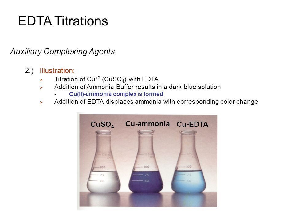 EDTA Titrations Auxiliary Complexing Agents 2.) Illustration: CuSO4
