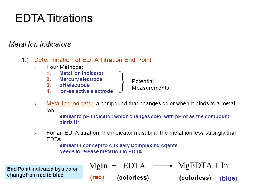 edta titration determination of mg2 The endpoint of an edta titration is determined the kf of mg2+ with edta is lower than determination of.