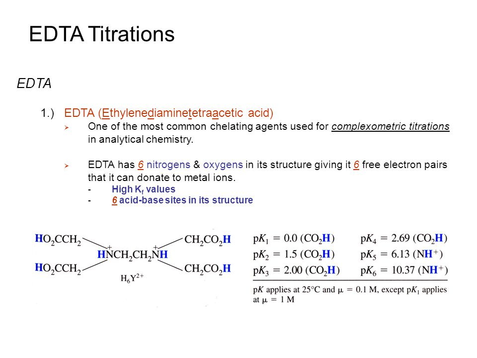 an analysis of edta titration Page 1 of 3 determination of calcium by titration with edapdf determination of calcium oxide by titration with a chelating ligand, ethylenediamminetetraacetic acid (edta.
