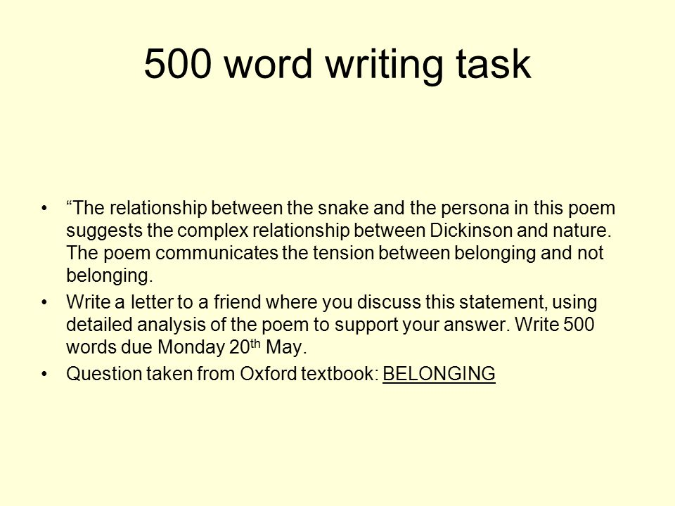 500 word writing task