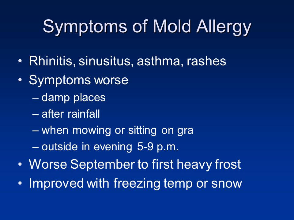 Symptoms of Mold Allergy