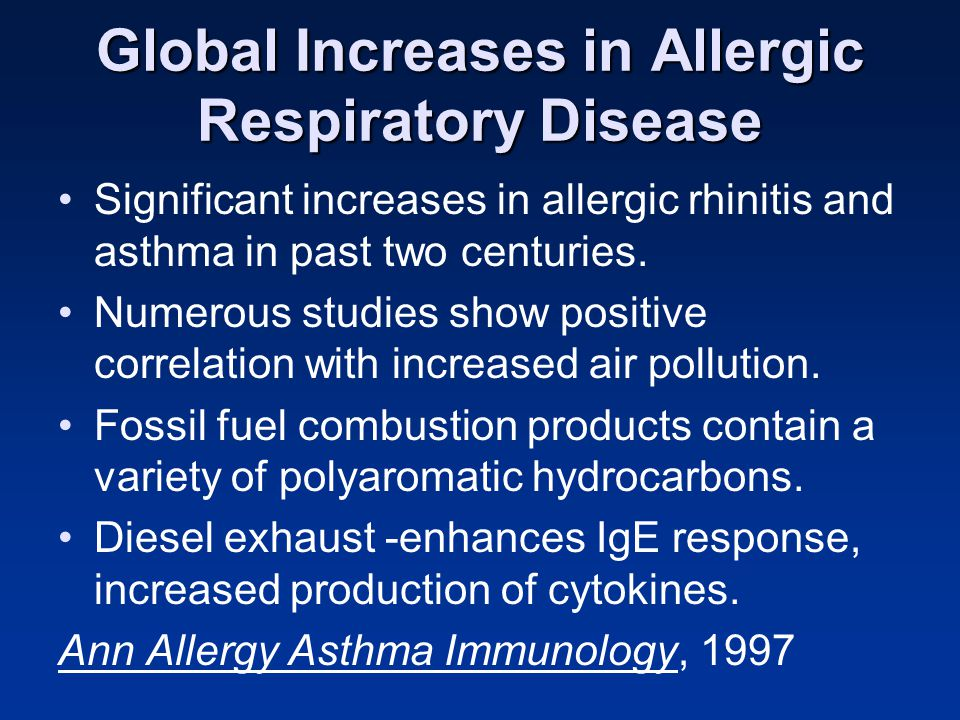Global Increases in Allergic Respiratory Disease