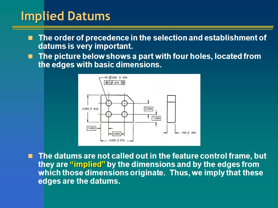 Implied Datums The order of precedence in the selection and establishment of datums is very important.