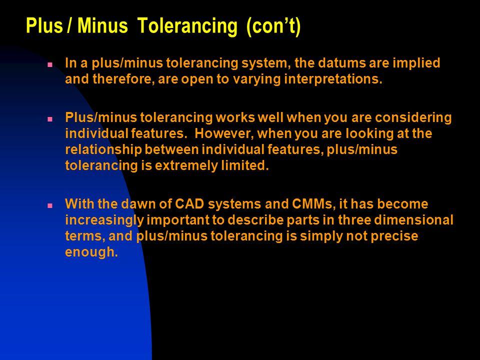 Plus / Minus Tolerancing (con't)