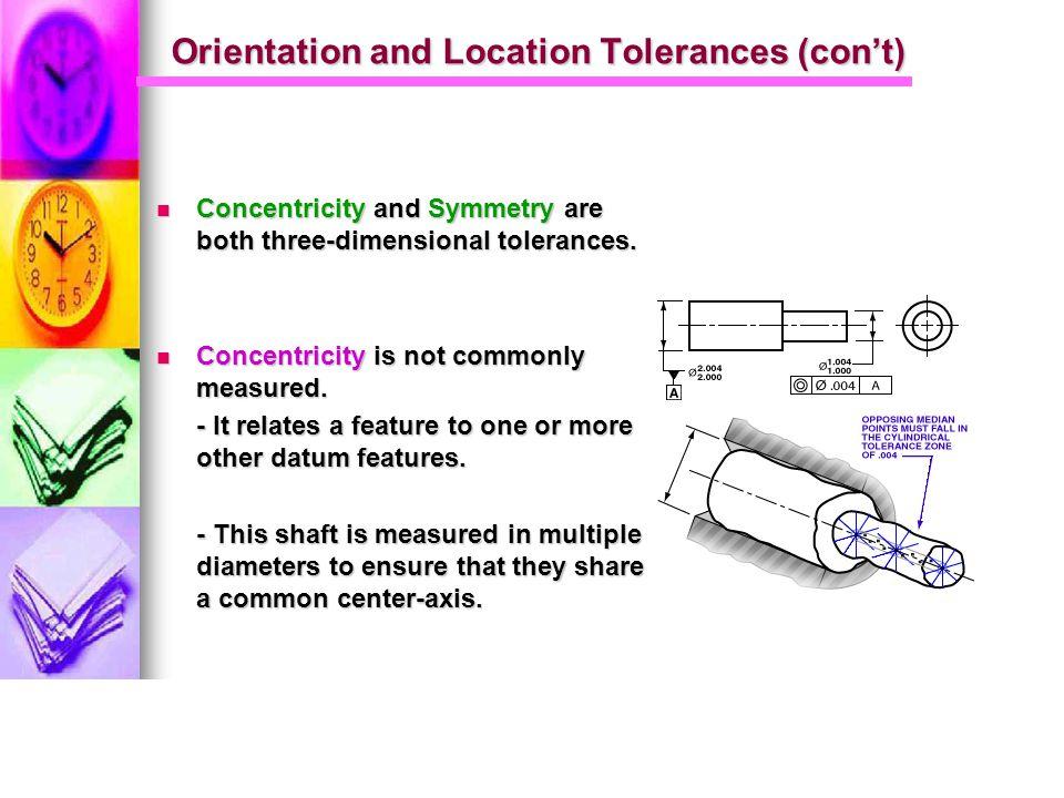 Orientation and Location Tolerances (con't)