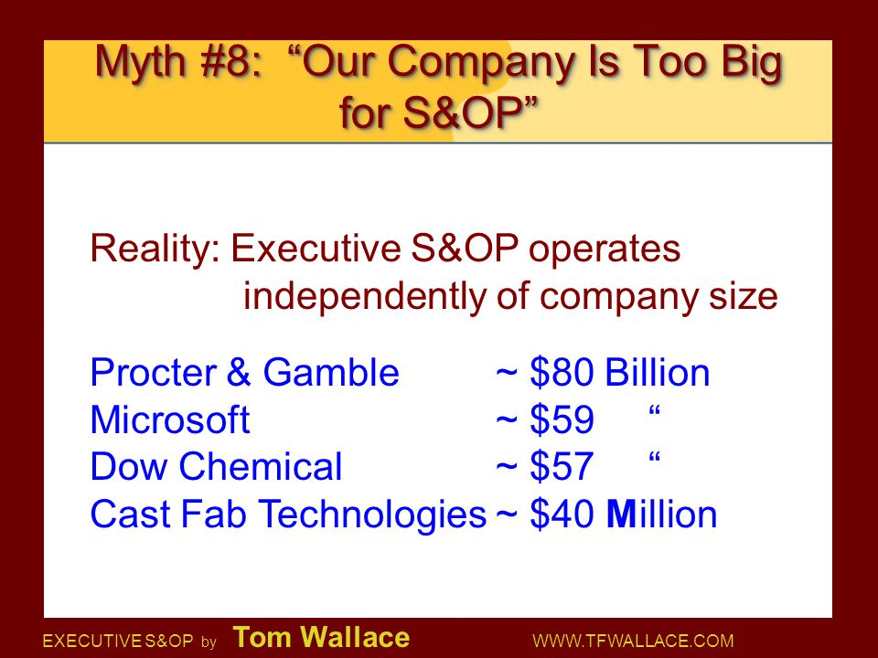 Myth #8: Our Company Is Too Big for S&OP