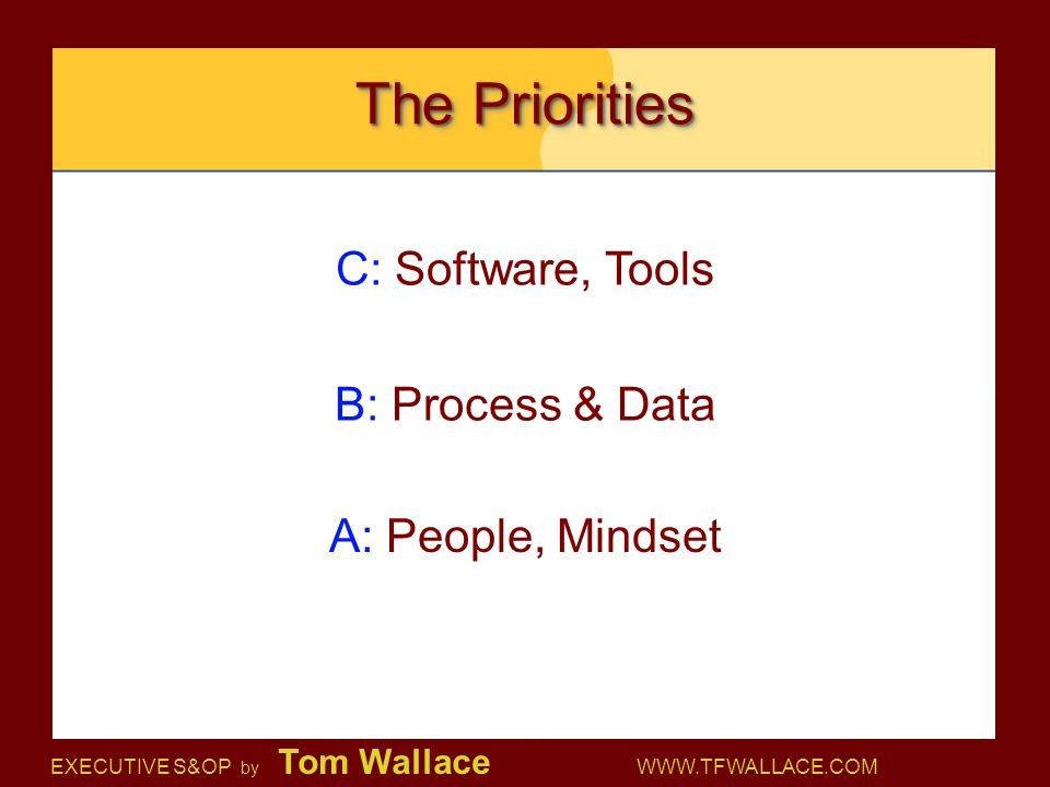 The Priorities C: Software, Tools B: Process & Data A: People, Mindset