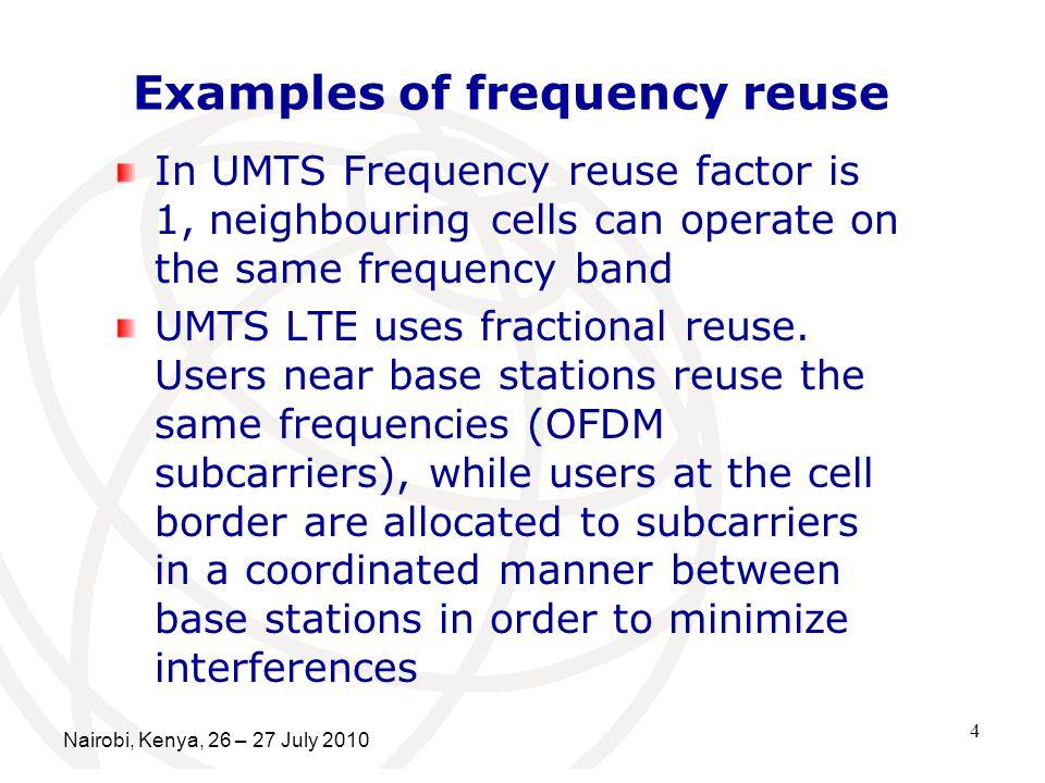Examples of frequency reuse