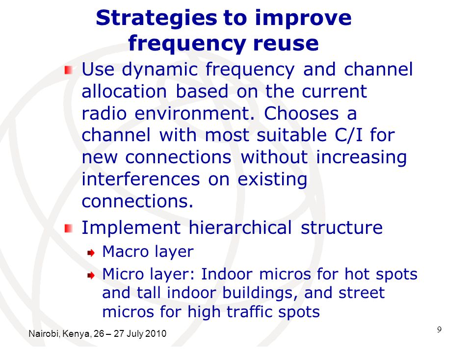 Strategies to improve frequency reuse