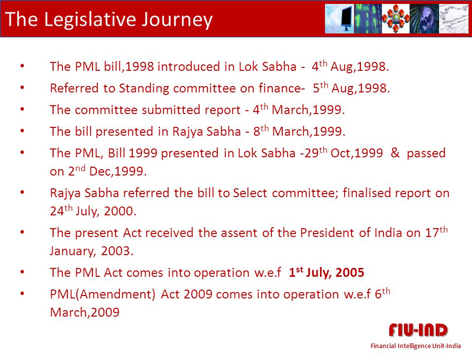 FIU-IND The Legislative Journey