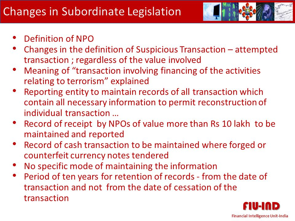 FIU-IND Changes in Subordinate Legislation Definition of NPO