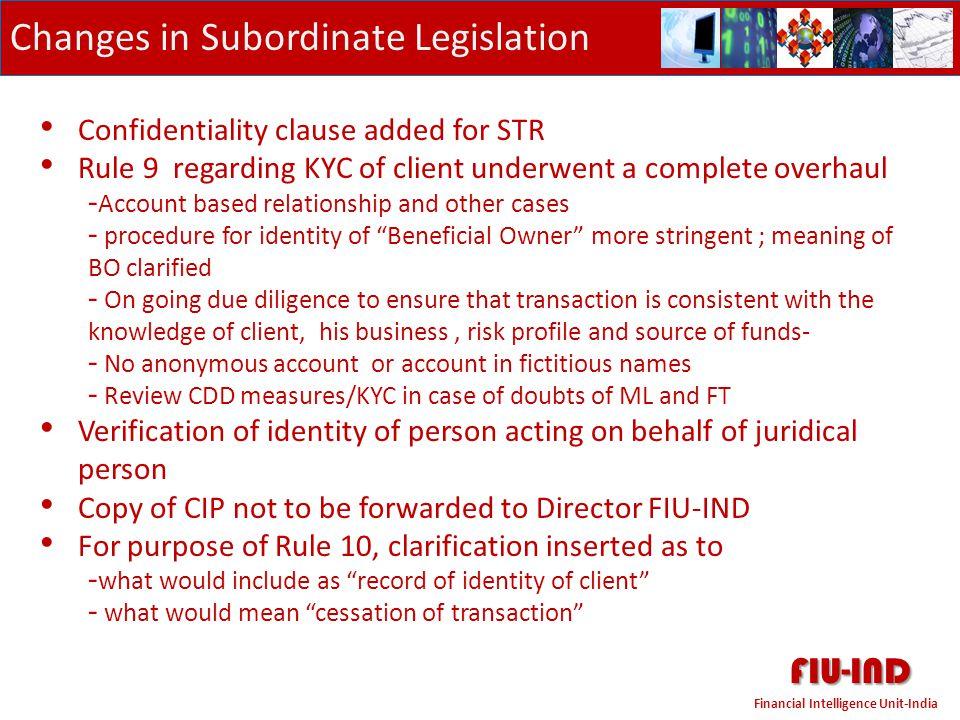 FIU-IND Changes in Subordinate Legislation