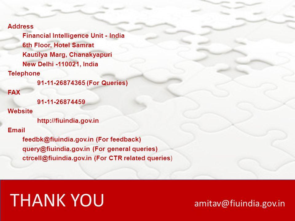 THANK YOU amitav@fiuindia.gov.in
