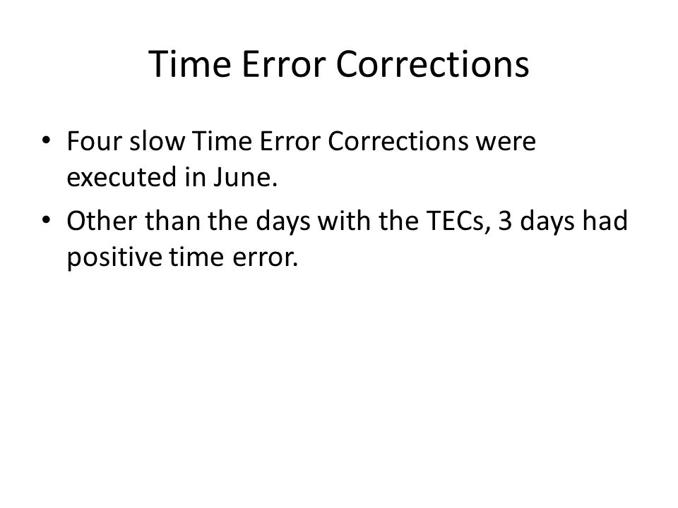Time Error Corrections