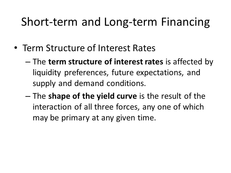 Short-term and Long-term Financing