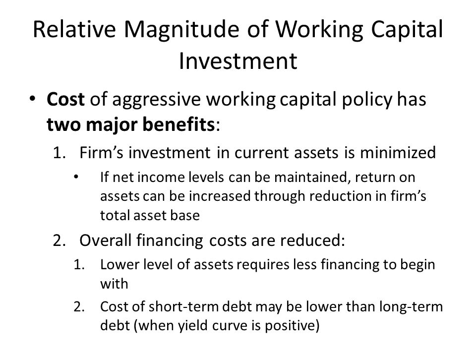 Relative Magnitude of Working Capital Investment