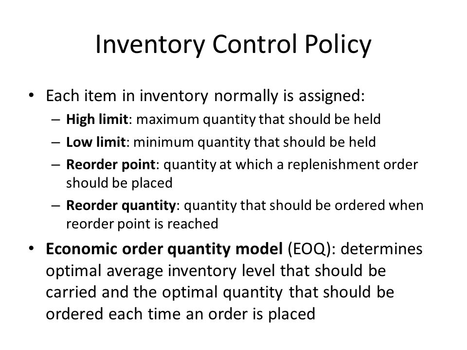 Inventory Control Policy