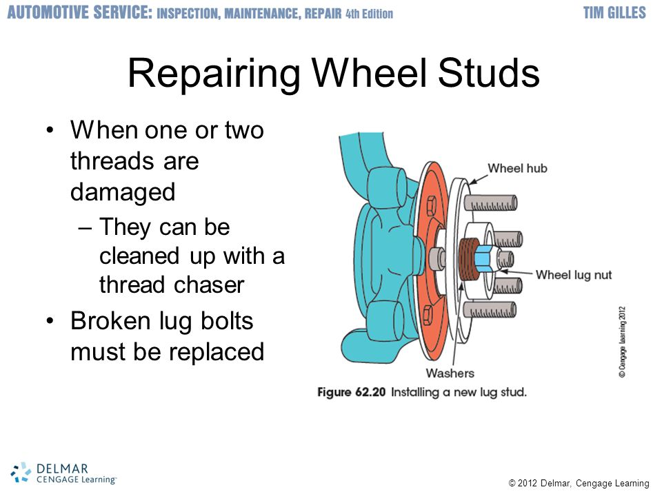 Repairing Wheel Studs When one or two threads are damaged