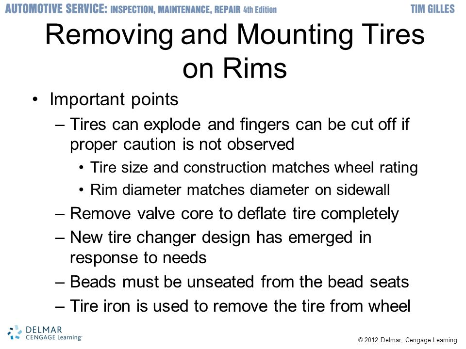 Removing and Mounting Tires on Rims