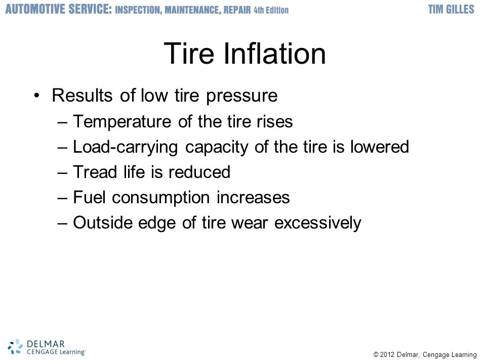 Tire Inflation Results of low tire pressure