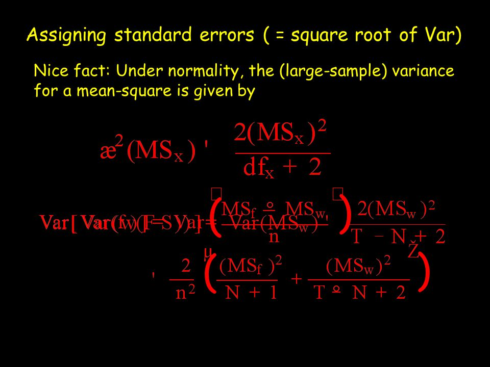 ) ( Assigning standard errors ( = square root of Var)