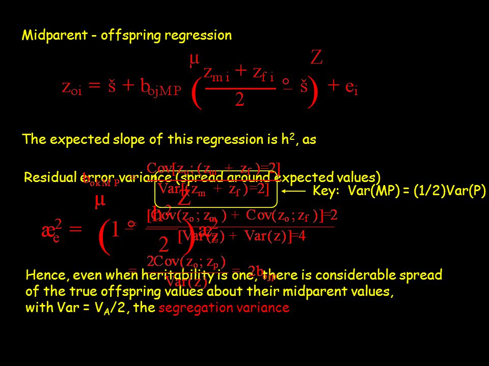 ( ) ( ) Midparent - offspring regression