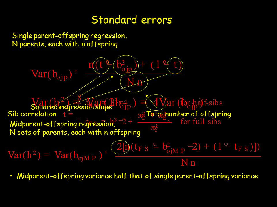 Standard errors Single parent-offspring regression,