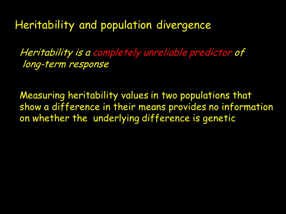Heritability and population divergence