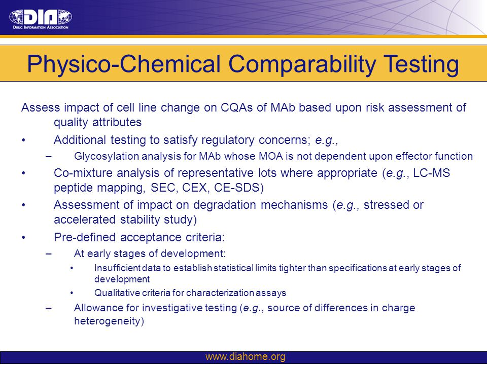 Physico-Chemical Comparability Testing